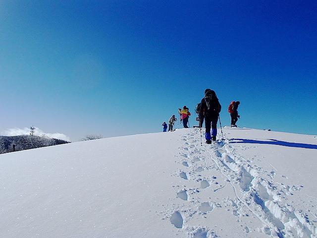 入笠山(南アルプス) 雪山登山 樹氷とアルプスの大展望