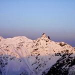 大天井岳から槍のモルゲンロート