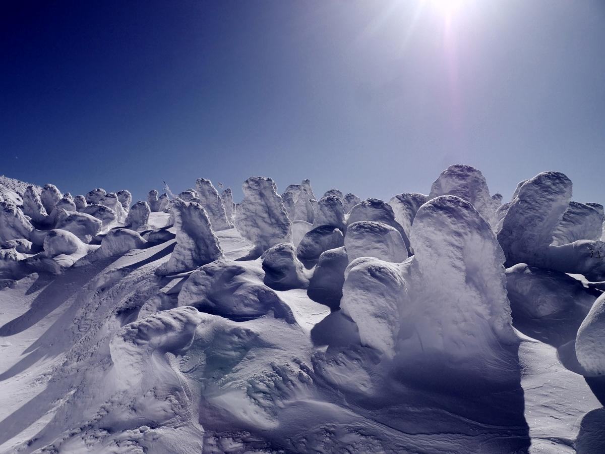 蔵王山 冬の青天と樹氷・スノーモンスターの世界