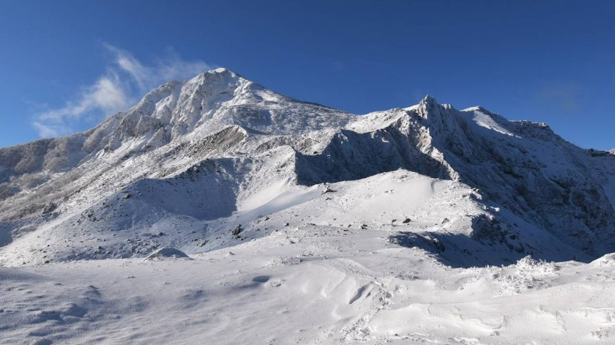 【福島】冬の磐梯山 雪山登山 ラッセルと樹氷と壮大な火山風景